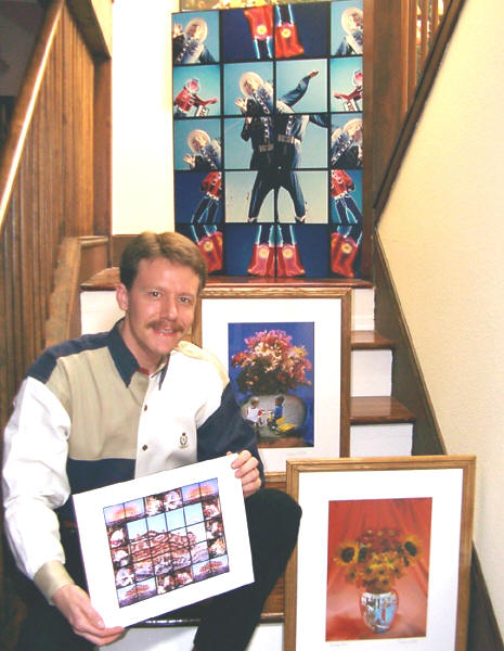 Wayne Wolfe with some of his work.